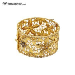 دستبند طلا پهن طرح گل مدل 2000
