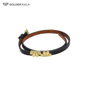 دستبند طلا چرم مردانه مدل 1936
