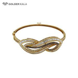 دستبند طلا طرح نگین دار مدل 2124