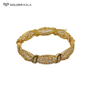 دستبند طلا پهن مدل النگویی کد 2039