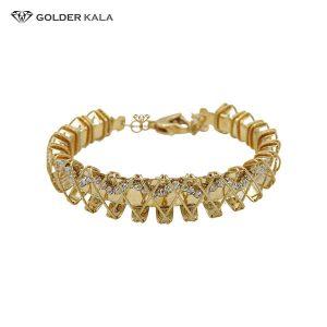 قیمت تک دست | دستبند طلا پهن مدل النگویی کد 2135