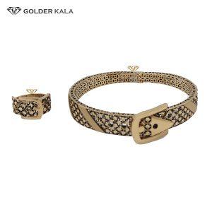 نیم ست دستبند طلا پهن و انگشتر کد 2233