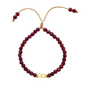 دستبند طلا طرح قلب با سنگ قرمز