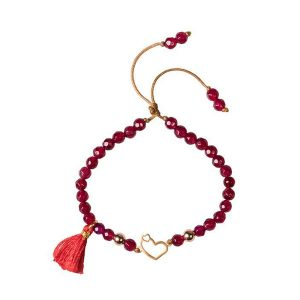 دستبند طلا قلب با مروارید قرمز