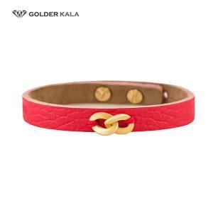 دستبند طرح بی نهایت طلا چرم