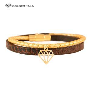 دستبند طلا طرح الماس چرمی