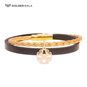 دستبند طلا چرمی طرح مربع
