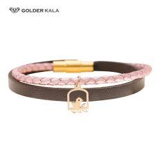 دستبند طلا چرمی طرح پرنده