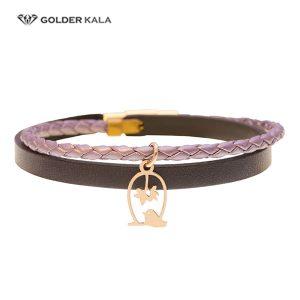 دستبند طلا چرمی طرچ گنجشک