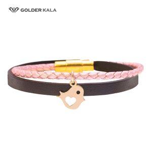 دستبند طلا چرمی پرنده