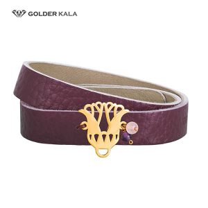 دستبند چرم طلا طرح جدید
