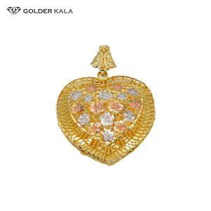 پلاک زنانه طلا طرح قلب و گل