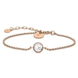 خرید دستبند زنجیری طلا ظریف رزگلد زنانه با سنگ