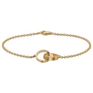 دستبند زنجیری طلا زنانه طرح دو حلقه