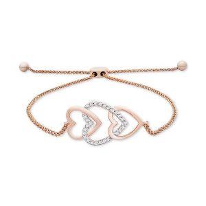 خرید دستبند طلا زنانه رزگلد طرح سه قلب نگین دار