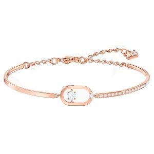 خرید دستبند طلا زنانه رزگلد طرح فانتزی نگین دار