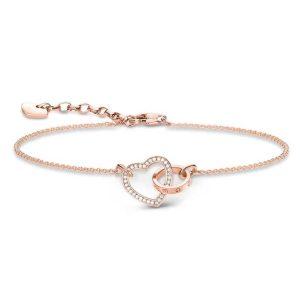 خرید دستبند طلا زنانه طرح قلب نگین دار