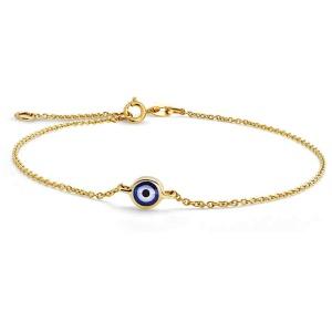 خرید دستبند طلا چشم زخم زنانه
