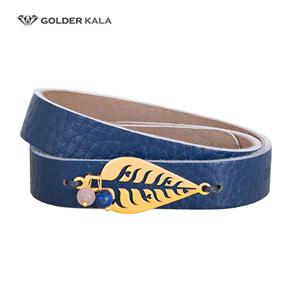 دستبند چرمی طلا طرح برگ