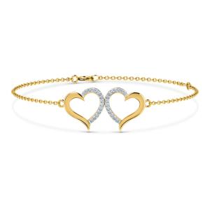 دستبند طلا ظریف طرح قلب زنانه کد 4467