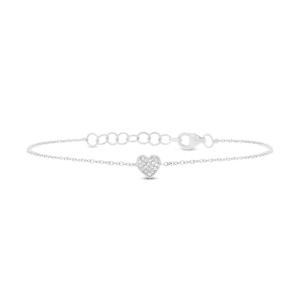 خرید دستبند زنونه طلا سفید طرح قلب کد 4468