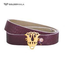 فروش دستبند چرم و طلا طرح تاج