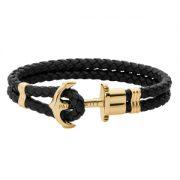 خرید دستبند چرم طلا مردانه کد 4671