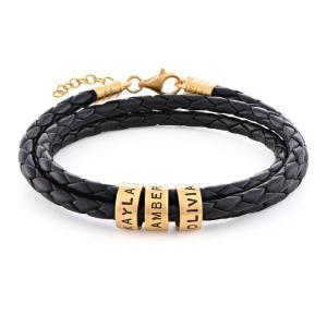 قیمت دستبند طلا چرم مردانه کد 4680