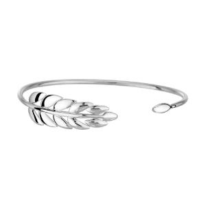 دستبند طلا سفید اسپرت زنانه طرح برگ کد 4715