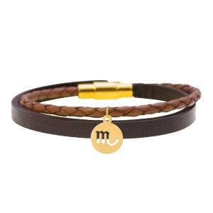 دستبند چرمی طلا آبان ماه کد 5482