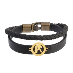 دستبند چرمی طلا نماد بهمن ماه کد 5549