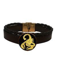 دستبند چرمی طلا نماد عقرب ( آبان ماه ) کد 5477