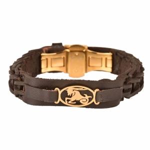 دستبند چرم طلا دی ماه کد 5522