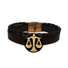 دستبند چرم و بافت ماه مهر