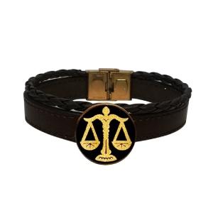 دستبند چرم طلا نماد مهر ماه کد 5452