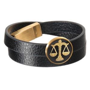 دستبند چرم طلا نماد مهر ماه کد 5459